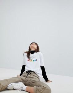 Свободная футболка с вышивкой ASOS X GLAAD - Белый