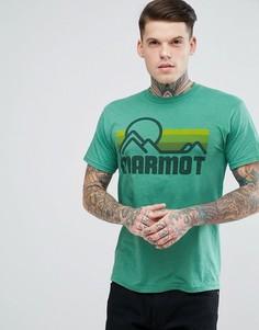 Зеленая меланжевая футболка с логотипом Marmot - Зеленый