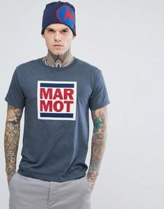 Темно-синяя меланжевая футболка с логотипом Marmot Linear - Темно-синий