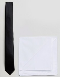 Подарочный комплект с галстуком и платком для нагрудного кармана Jack & Jones - Черный