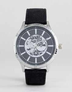 Черные часы с кожаным ремешком и видимым механизмом Reclaimed Vintage Inspired - Черный