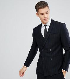 Зауженный двубортный пиджак в полоску Noak - Темно-синий