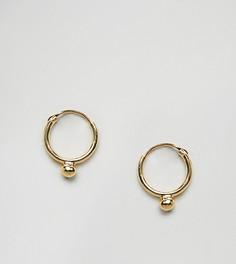 Позолоченные серебряные серьги-кольца с шариками ASOS - Золотой