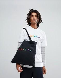 Черная сумка-тоут с вышивкой ASOS X GLAAD - Черный