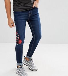 Обтягивающие джинсы с вышивкой змеи Brooklyn Supply Co - Синий