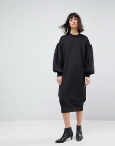 Платье-свитшот миди с плиссировкой ASOS WHITE - Черный