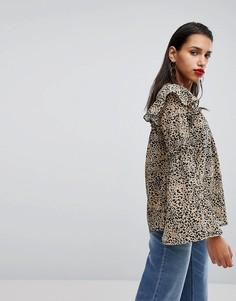 Блузка с расклешенными рукавами с леопардовым принтом Neon Rose - Мульти