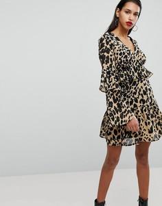 Свободное платье с оборками на рукавах и принтом Neon Rose - Мульти