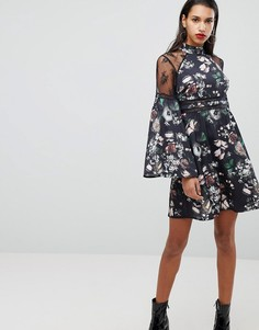 Платье с цветочным принтом и кружевной отделкой Neon Rose - Черный