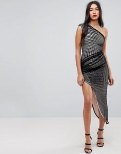 Асимметричное сетчатое платье на одно плечо Forever Unique - Черный