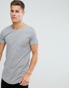 Длинная хлопковая футболка Produkt - Серый