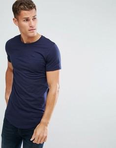 Длинная хлопковая футболка Produkt - Темно-синий