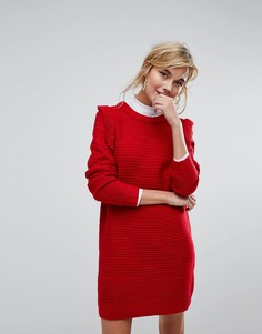 Платье-джемпер в рубчик с оборками Willow And Paige - Красный