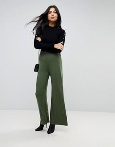 Базовые трикотажные брюки с широкими штанинами ASOS - Зеленый