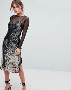 Сетчатое платье с эффектом омбре и пайетками Coast Gisella - Мульти