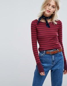 Топ в полоску с длинными рукавами Esprit - Красный