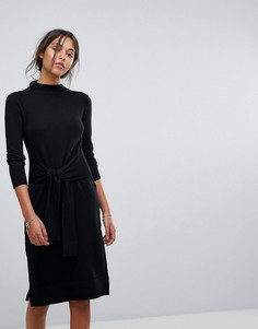 Трикотажное платье с поясом Esprit - Черный