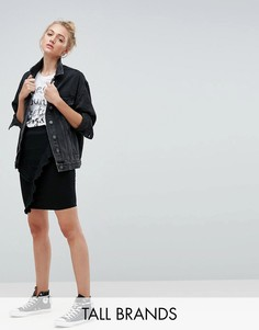 Джинсовая мини-юбка с асимметричными оборками Noisy May Tall - Черный