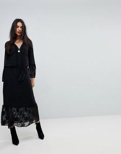 Платье макси с рукавами-колокол Sisley - Черный