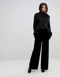Бархатные брюки с широкими штанинами Dr Denim - Черный