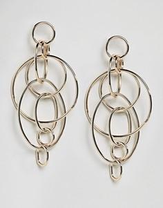 Серьги-подвески со сцепленными между собой кольцами Lipsy - Золотой