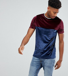 Велюровая футболка с контрастной кокеткой и окантовкой ASOS TALL - Темно-синий