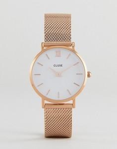Золотисто-розовые часы с сетчатым ремешком CLUSE CL30013 Minuit - Золотой
