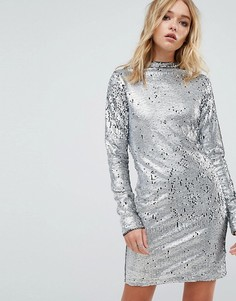 Платье с высоким воротом и пайетками Cheap Monday - Серебряный