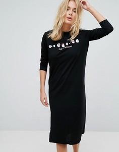 Платье-футболка с длинными рукавами и принтом черепов Cheap Monday - Черный