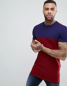 Длинная обтягивающая футболка с контрастной кокеткой ASOS - Мульти