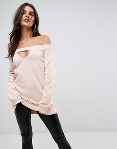Свитшот с открытыми плечами и вырезом ASOS - Розовый