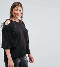 Топ с открытыми плечами и сетчатой отделкой Simply Be - Черный
