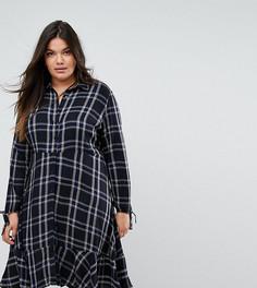 Платье-рубашка в клетку с оборкой Simply Be - Мульти