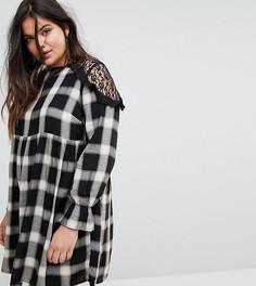 Свободное платье в клетку с кружевными вставками Simply Be - Мульти