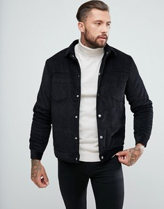 Черная вельветовая куртка с подкладкой из искусственного меха boohooMAN - Черный