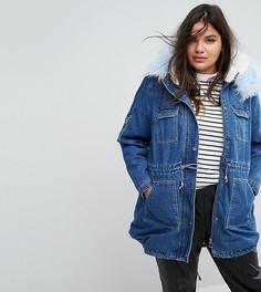 Джинсовая куртка с воротником и подкладкой из искусственного меха Simply Be - Синий