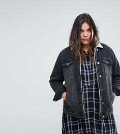 Джинсовая куртка с подкладкой из искусственного меха Simply Be - Черный