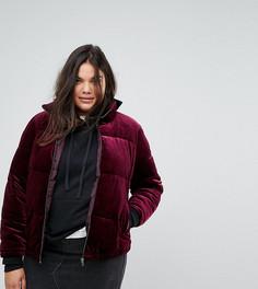 Дутая бархатная куртка Simply Be - Фиолетовый