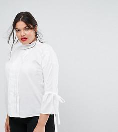 Блузка с высоким воротником и завязками Simply Be - Белый