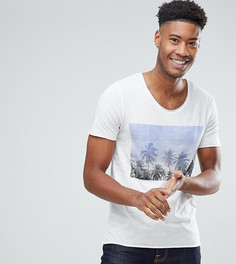 Футболка с принтом пальм Selected Homme TALL - Белый
