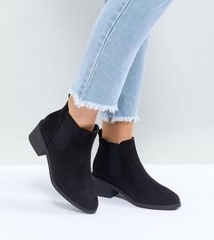 Черные ботинки челси для широкой стопы на низком каблуке New Look - Черный
