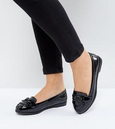 Лакированные лоферы с бахромой для широкой стопы New Look - Черный