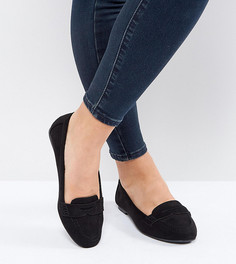 Лоферы в замшевом стиле для широкой стопы New Look - Черный