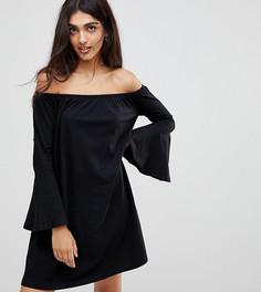 Платье мини с открытыми плечами и расклешенными рукавами ASOS TALL - Черный
