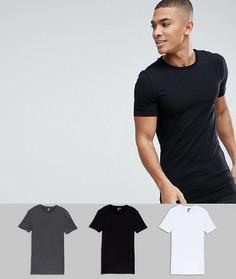 3 длинные облегающие футболки с круглым вырезом ASOS - СКИДКА - Мульти