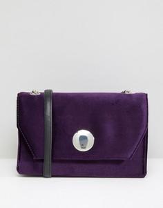 Бархатная сумка на плечо с цепочкой New Look - Фиолетовый