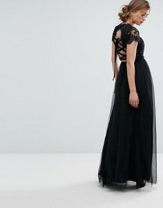 Платье макси из тюля со шнуровкой Chi Chi London - Черный