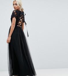 Платье макси с юбкой из тюля и шнуровкой сзади Chi Chi London Petite - Черный