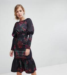 Платье миди с длинными рукавами и оборкой по краю True Violet - Мульти