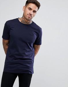 Темно-синяя футболка с круглым вырезом и логотипом HUGO - Темно-синий